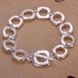 ASAMO-Damen-Herren-Armband-mit-Vierecken-925-Sterling-Silber-plattiert-A1106