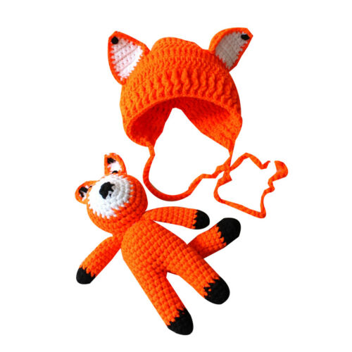 Newborn Baby Girl Boy Crochet Knit Costume Fox Hat Set Photographie Photo Props