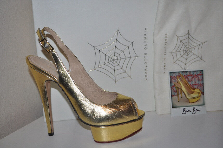 NIB  825+ Charlotte Olympia Bon Bon Slingback Platform Heels Pump shoes gold 39