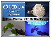 395nm Herb Plant Uv Max Grow 60led Light Bulb 110v E27 Usa Engineercertifed