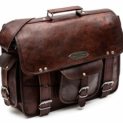 Men Vintage Brown Leather Messenger Shoulder Work Laptop Bag Briefcase Handmade