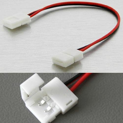 2 connettori doppi a clip 10MM  con cavo per striscia led monocolore 5050 5630