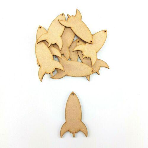 10x ROCKETS craft shapes wooden gift tag MDF blank Bunting Decor Art boy cutout