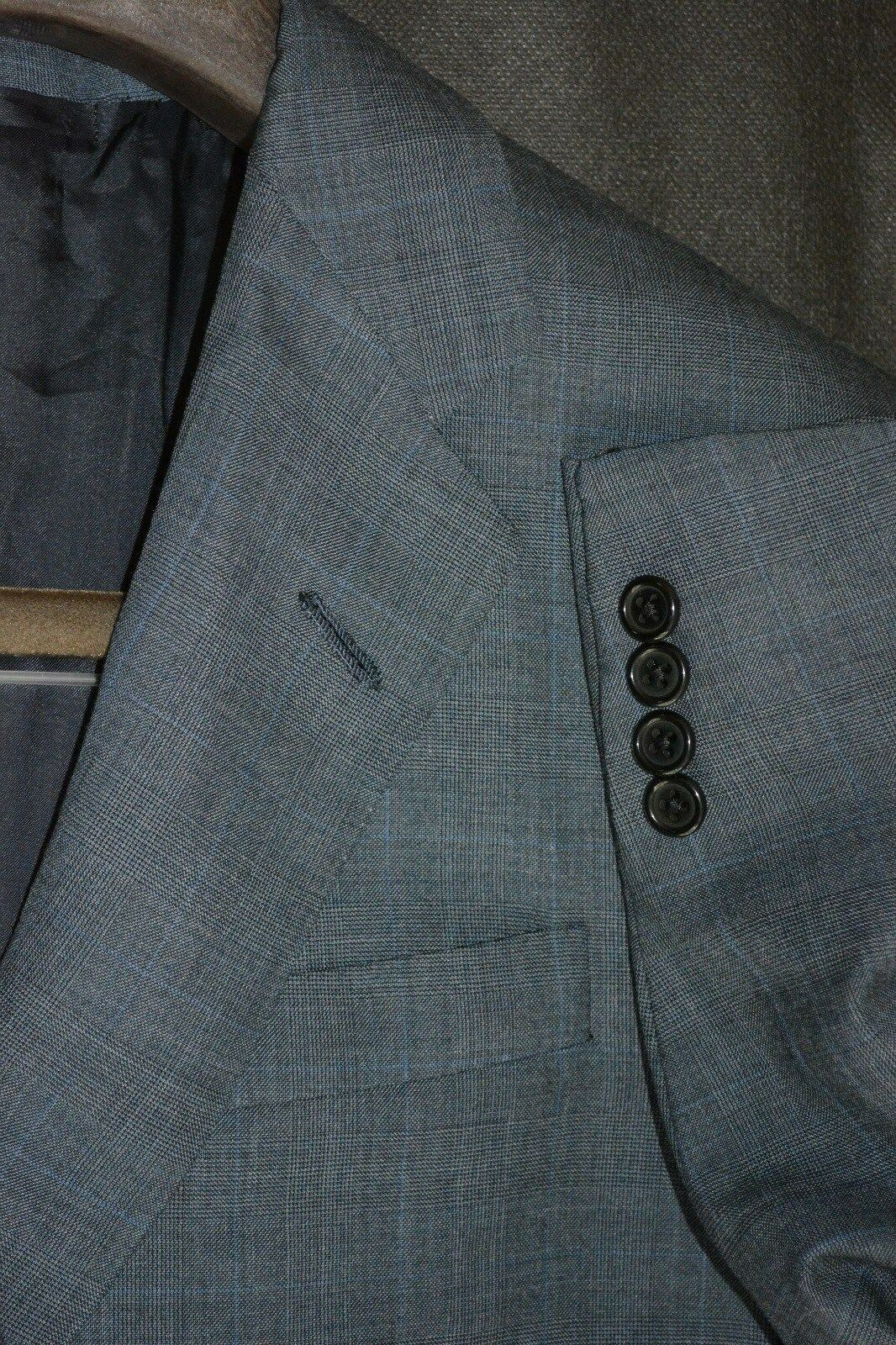 Oxxford Clothes Super 110s Wool Sportcoat Plaid grau Blau Blazer 42R 42 R