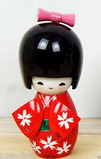 New Lovely Cute Japanese Red Girl Design Creative Kokeshi Wooden Doll 9cm