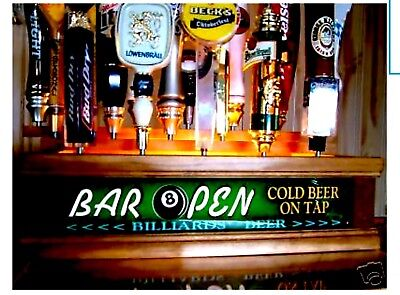 """COLOR LED/'S 2 tier 7 beer tap handle display PERSONALIZED  /""""NO FREELOADERS/"""""""