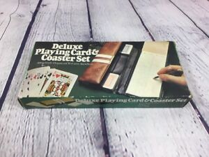 Vintage-1980-Playing-Cards-and-Coaster-Set-w-Carrying-Case-in-Original-Box