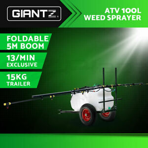 Giantz 100L ATV Weed Sprayer 5M Boom Trailer Spot Spray Tank Garden Farm Pump