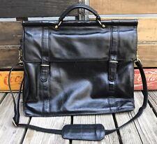 HERITAGE LEATHERS Black Leather Dowel Rod Business Messenger Shoulder Bag