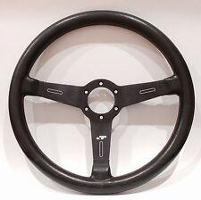 Vintage MOMO GT Italie Black Leather Steering Wheel For Porsche 911 Fiat Bmw