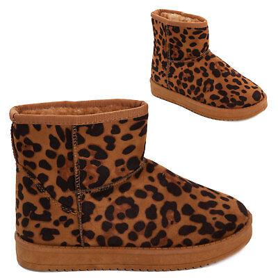 femme en léopard polaire chaussureseBay daim écho laine Bottes basses fourrure 53R4AjL