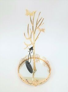 NEW-CYNTHIA-ROWLEY-GOLD-TONE-2-METAL-BUTTERFLY-MIRROR-DISH-JEWELRY-HOLDER-STAND