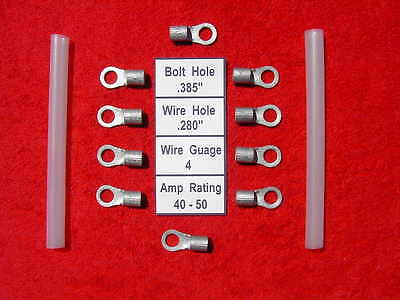 with Shrink Tubing 10 Electrical Cable Lugs Tin Plated Copper 4 Gauge