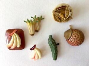 Vtg Celluloid Weeber Vegetable Fruit Buttons peas pickle banana orange celery