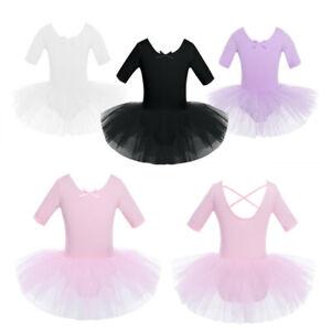 UK Girls Ballet Dance Leotard Tutu Dress Gymnastics Dancewear Ballerina  Costume