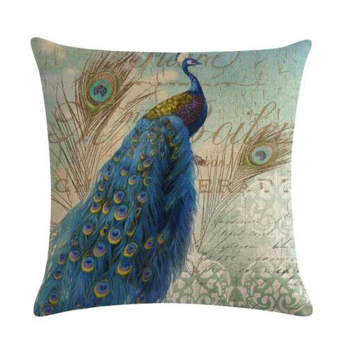 Home Decor Pillowcase Classical Peacock Cushion Cover Linen Car Sofa Decorative