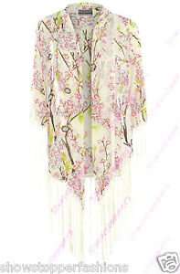 neuf-pour-femmes-Kimono-Imprime-Floral-a-franges-Size-10-12-14-16-Chiffon-Gland