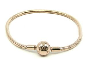 Details about *AUTHENTIC PANDORA MOMENTS SNAKE CHAIN BRACELET 14KT ROSE  GOLD PLATED SIZE 17