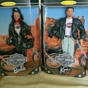 Barbie-amp-Ken-Pair-Of-Harley-Davison-1998-Harley-Dolls-MIB-NRFB