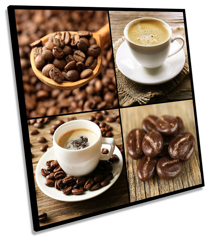 Coffee Beans Cup Cafe Kitchen SQUARE CANVAS WALL ART Boxed Framed