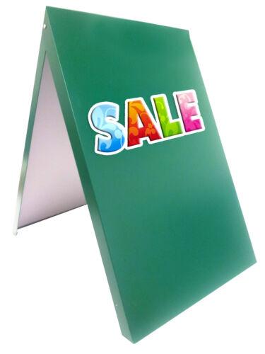 A-BOARD PAVEMENT SIGN ADVERTISING MENU SANDWICH BOARD METAL FRAME GREEN MLG UV