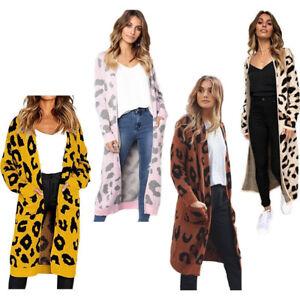 Ladies-Wool-Knitted-Leopard-Cardigan-Long-Sleeves-Midi-Jumper-Sweater-Jacket-Top