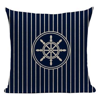 navy blue Cape Cod canvas seaside beachhouse Star Cushion Cover Americana