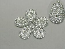 100 Clear Glitter Flatback Resin Teardrop Cabochon Pyramid Rhinestone 13X18mm