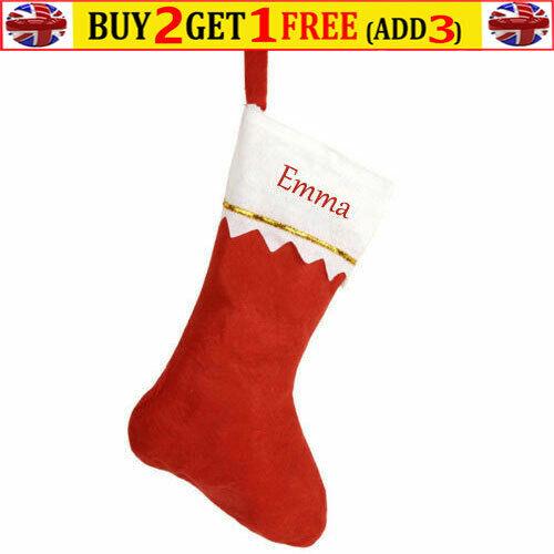 Personalised Christmas Red Stocking Luxury Sack Deluxe Xmas Personalised Name