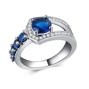 Unique Women 925 Silver Jewelry Round Cut Blue Sapphire Wedding Ring