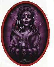 PURPLE VICTORIAN GOTH BUTTERFLY ZOMBIE MOTH SKULL GOTHIC VINYL OVAL STICKER A6
