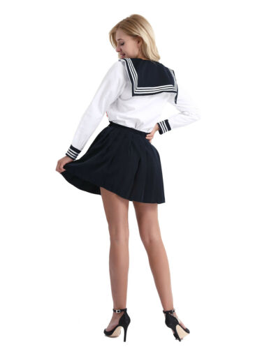 Womens Cosplay Japanese Students School Girl Sailor Uniform Outfit Costume Dress