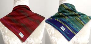 NWT-Lot2-Kenzohandkerchief-Neckscarf-Square-Triba-Motif-Green-Red-Cotton17-5-18-034