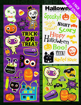 3 x HALLOWEEN Stickers Favours Trick Treat Loot Bag Filler Party Prizes FREE P&P