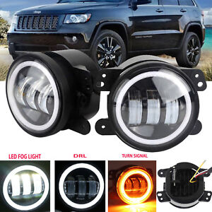 Details About 4inch Led Headlight Drl Fog Lamp Lights Bulbs For Jeep Grand Cherokee 2011 2013