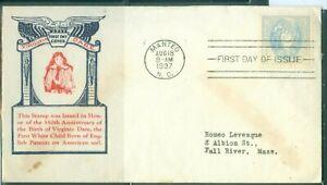 US-796 VIRGINIA DARE cancel.MANTEO NC.AUG.18-1937 ADDR.5c