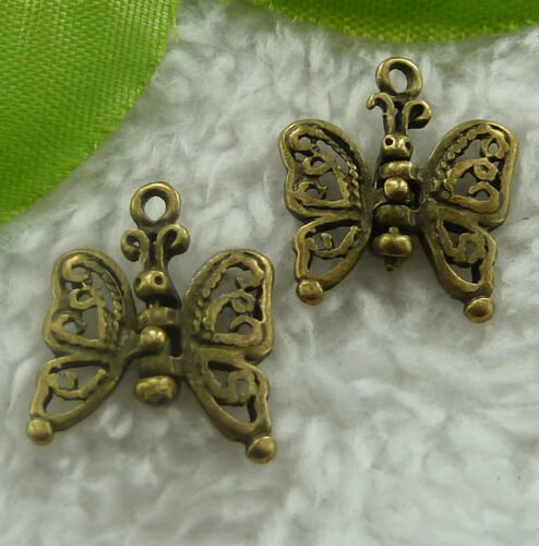 charms 18x16mm B2348 Free Ship 100pcs bronze plated butterfly flexible
