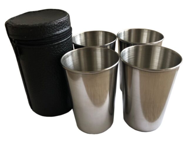 5 Oz Travel Cups Shots Set of 4 Whisky Wine Spirits Golf Picnic Camping Festival