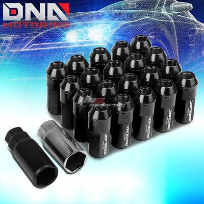 20PCS 29MM BLACK ALUMINUM 23MM OD M12X1.25 CONICAL LUG NUTS W//24MM CAP+ADAPTER