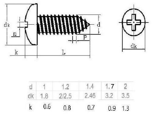 Linsenkopf kleine Holz- // Blechschrauben Stahl vernickelt ab 1mm Ø 100 Stück