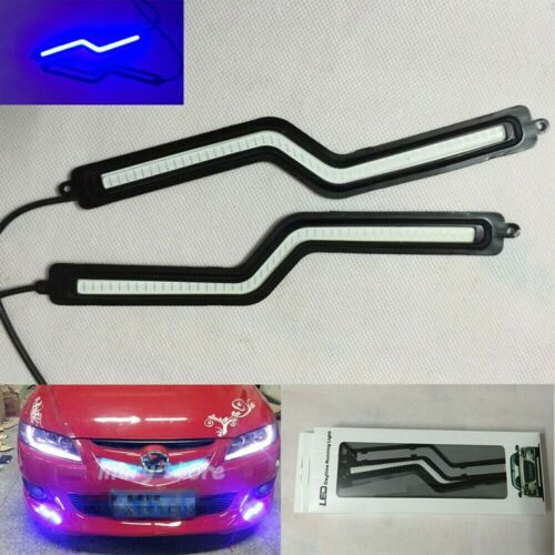 2Pcs Z Shape Blue COB LED Strip Car Fog Lamp DRL Driving Daytime Running Lamp