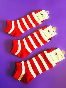 3-Pairs-Unisex-Men-Casua-Red-Color-Striped-Cotton-Ankle-Low-Cut-Socks-Size-6-11
