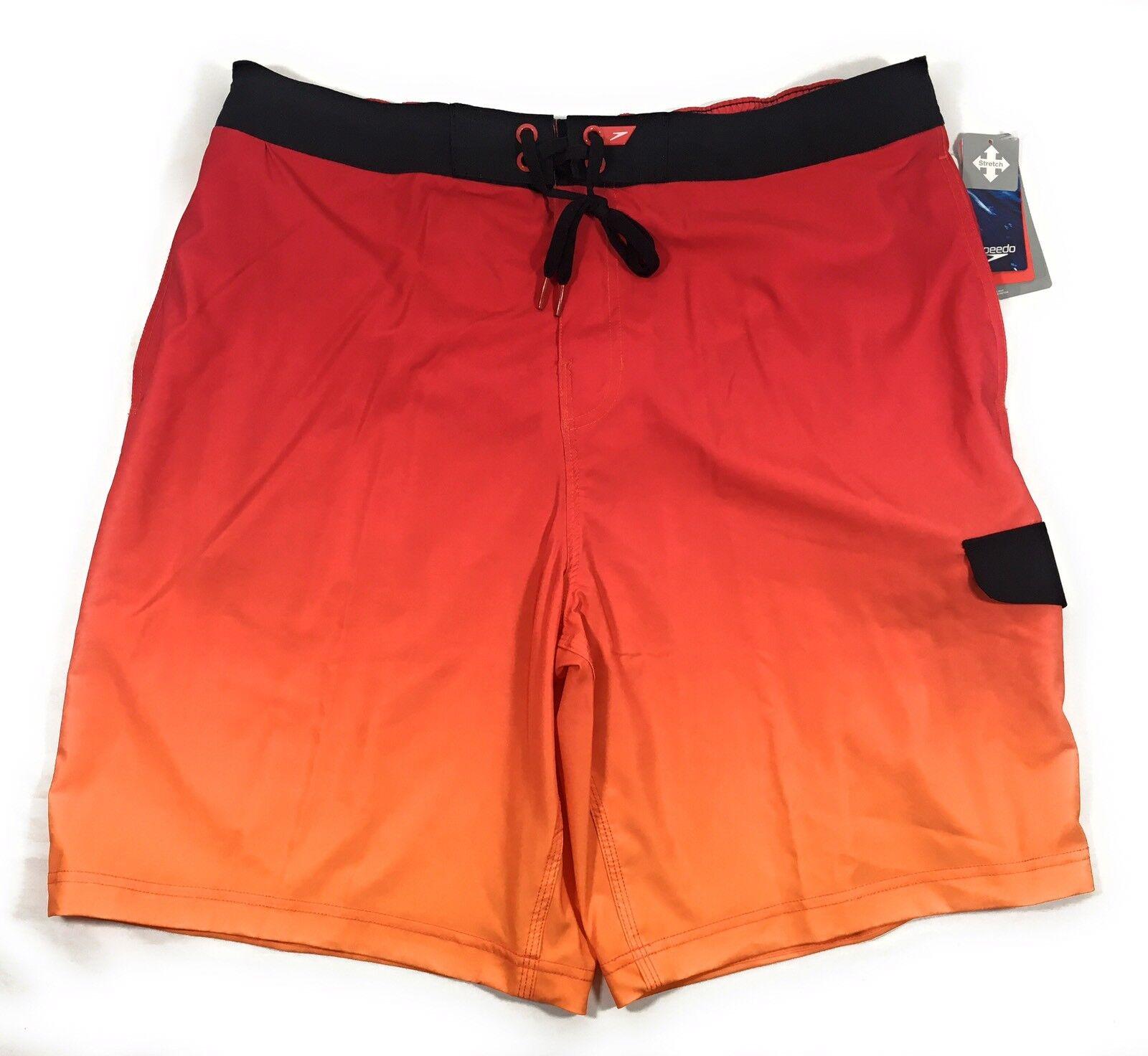 Speedo Men's XL Engineered Ombre E-Board Shorts Swim Trunks 21 Inch Fiery Red
