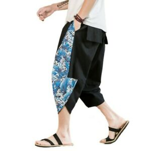 Mens Ethnic Style Printed Dragon Harem Pants Cropped trousers Slacks Loose Fit D