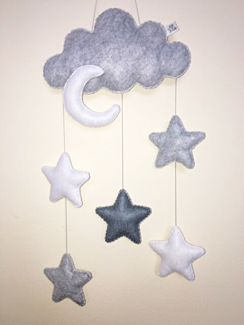 Monochrome Cloud Moon Star Baby Nursery Mobile Wall Hanging Decoration Handmade