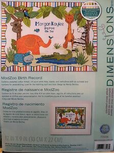 New-Counted-Cross-Stitch-Kit-Birth-Announcement-Mod-Zoo-73508-Jungle