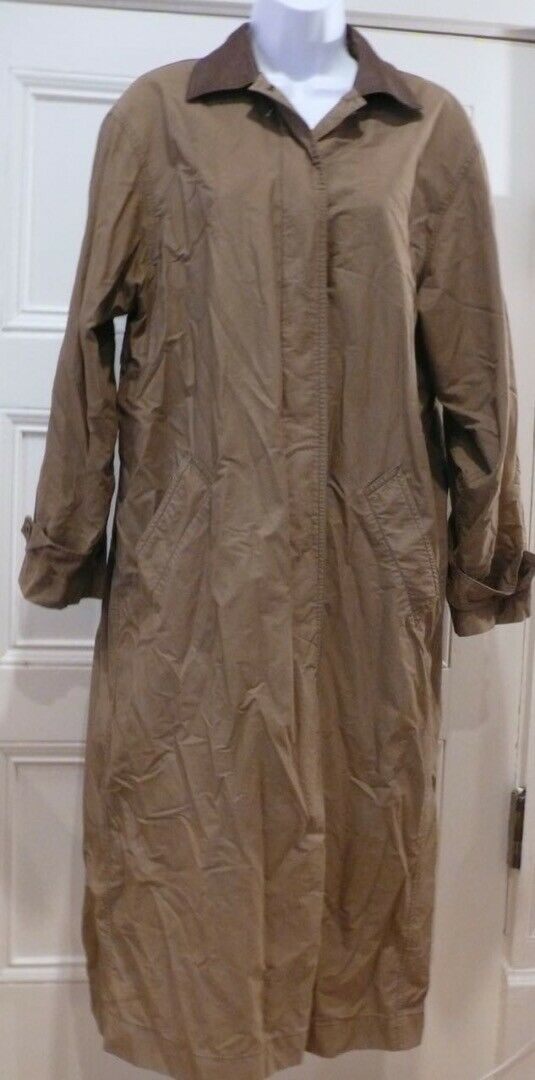 LIZSPORT PETITES Women's Khaki Green Faux Leather Collar Duster Coat Sz P
