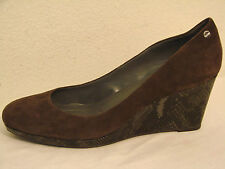 Calvin Klein Womens Brown Suede Gray Snake Wedge Shoe - Size 10M