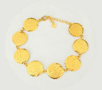 Coin Bracelet Arabic Middle East Jewelry 24k Gold Plated Bracelets Size 7 - 12