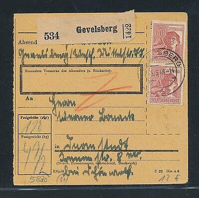 Deutschland Ab 1945 Briefmarken 03403 Ab Paketkarte Gevelsberg Mef 2x 60pf Arbeiter Braunrot Weitere Rabatte üBerraschungen